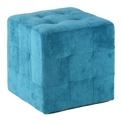 Cortesi Home - Braque Cube Ottoman, Blue - The Braque cube ottoman  is an easy way to update the look of your home. It is upholstered in a microfiber featuring square tufting on all sides.  It also features plastic non marking feet and is lightweight yet durable.
