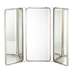 Arteriors Home - Dash Triple Mirror - Dash Triple Mirror is a trio of beveled mirrors connected with a hinged Antique Nickel frame. It can swivel to stand alone or hang from a ringed chain assembly. Dimensions: 20 inch width x 28.5 inch height x .5 inch depth.