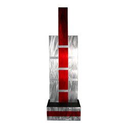 Weave - Modern Abstract Metal Decor Wall or Table Art Sculpture, Red - This is an original hand crafted and hand painted sculpture made from high quality metal with a wooden base. It is perfect for displaying anywhere in your home or business and can be displayed on a table top or on the wall - ready to hang. It is a great way to fill your space with a modern masterpiece. The brackets are included and installed on the back, but anchors and screws are not included.