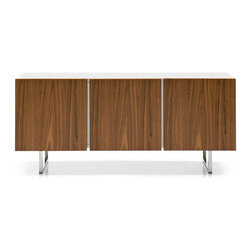 Calligaris - Seattle 3 Door Sideboard with Glass Shelves ( - Finish: Glossy White Doors & Satin BasePictured in Walnut Doors & Chromed Base. Glossy white frame. 2 compartment buffet with three 1.625 in. thick doors. Push-pull doors - no handles. Includes 2 inner transparent tempered glass shelves. Length: 46.5 in. and 22.875 in.. Inner shelves can be adjusted in height (3 positions). Assembly required. Height from ground: 7.875 in.. 72.5 in. W x 20.75 in. D x 31.5 in. H
