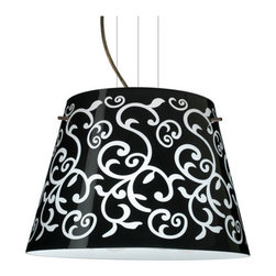 Besa Lighting - Besa Lighting 1KV-4394BD-LED Amelia 3 Light LED Cable-Hung Pendant - Amelia features a tapered drum shape, open at the top, that fits beautifully in transitional spaces. Our Black Damask glass is an art nouveau creation in hand-blown glass. The inside of the glass is etched so the pattern appears frosted. The background is painted in layers with black and white on the inside so the outer surface remains glossy. The cable pendant fixture is equipped with three (3) 10' silver aircraft cables and 10' AWM cordset, and a low profile flat monopoint canopy.Features: