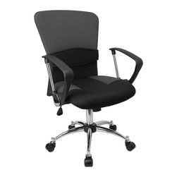Flash Furniture - Mid-Back Grey Mesh Office Chair - This office chair shows off a distinct appearance with its curved back and chrome framed arms. Chair is attractively designed with its two-tone mesh upholstery and chrome arms with polyurethane arm caps.
