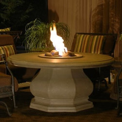 American Fyre Chat-Height Octagon Fire Pit Table - Cafe Blanco - Host an outdoor gathering by the warm glow of the American Fyre Chat Height Octagon Fire Pit Table – Café Blanco. Designed to be the perfect height to sit around and chat, this fire pit table makes a great addition to your outdoor living scheme. The unique off-white finish and sculpted base makes the table a stunning centerpiece. The pedestal holds a propane tank, and a stainless-steel burner is included.About American Fyre DesignsR. H. Peterson Company, a premium gas product manufacturer, launched American Fyre Designs in 2013. This complete line of uniquely designed and handcrafted exterior fire features are meant to meet the growing demand for outdoor living products. Pre-fabricated exterior fireplaces, fire tables, urns, pits, walls and BBQ islands make up this unique line and each item is constructed of durable, lightweight glass fiber reinforced concrete. Everything in the American Fyre Designs line is made in the USA and follows strict quality standards using advanced technology.