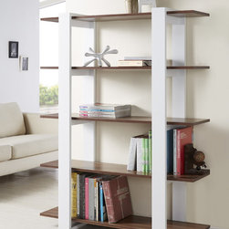 Furniture of America - Furniture of America Haven 5-tier Display Bookshelf - This beautifully crafted five-shelf display bookcase, made by Haven, is the perfect addition for any home. This modern style bookcase features a white finish with walnut colored shelves and adds a touch of elegance and sophistication to any room.