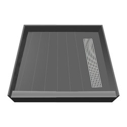 Tileredi - TileRedi RT4242R-PVC-SQBN 42x42 Single Curb Pan R Trench - TileRedi RT4242R-PVC-SQBN 42 inch D x 42 inch W, fully Integrated Shower Pan, with Right PVC Trench Drain, 31.5 inch Square Design Grate, Brushed Nickel finish