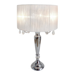 Elegant Designs - LT1034 Elegant Designs Romantic Sheer Shade Lamp Hanging Crystals, White - 27.5 inch crystal drop table lamp. A modern twist on a classic table lamp. Features a sheer shade, flawless chrome finish, and beautiful draping crystals. Great fit for any room! Use it in a bedroom to create a romantic atmosphere or in a living room or office to add some fresh decorative flair. We believe that lighting is like jewelry for your home. Our products will help to enhance your room with elegance and sophistication.