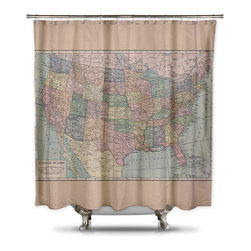 Shower Curtain HQ - Vintage Map of the United States Shower Curtain by Catherine Holcombe, Extra Lon - Get a geography lesson every morning! Vintage map of the United States of America printed on a polyester shower curtain.