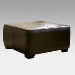 Baxton Studio Bree Cocktail Leather Ottoman - The stylish Baxton Studios Bree Cocktail Ottoman is multi-functional. It can provide you with additional space to serve up appetizers for a cocktail party or it becomes the haven your feet need after a long day. The bi-cast leather will hold up well to wear and tear and the wooden feet will keep the ottoman solidly in place where you need it.