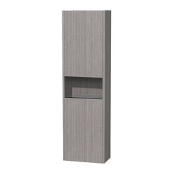 Wyndham Collection - Diana Grey Oak Wall Cabinet - The Diana wall-mounted storage cabinet takes modern looks and hidden bathroom storage to the next level. Featuring easy open and close upper and lower storage areas, separated by a deep, open curio shelf, the details on the Diana shine. Doors include soft-close hinges for a quiet close and are designed with a unified finger pull for an even cleaner look. Dimensions: 16.125 in. x 9.125 in.