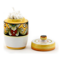 Artistica - Hand Made in Italy - Deruta Vario: Cotton Swab Holder with Lid - Deruta Vario Collection: