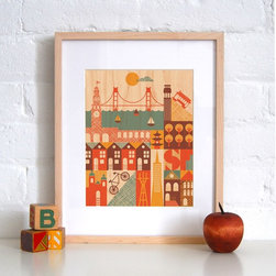 Petit Collage San Francisco - Print on Wood - San Francisco - Print on Wood