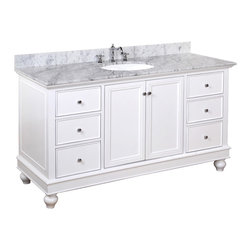Kitchen Bath Collection - Bella 60-in Single Sink Bath Vanity (Carrara/White) - This bathroom vanity set by Kitchen Bath Collection includes a white cabinet with soft close drawers, Italian Carrara marble countertop, single undermount ceramic sink, pop-up drain, and P-trap. Order now and we will include the pictured three-hole faucet and a matching backsplash as a free gift! All vanities come fully assembled by the manufacturer, with countertop & sink pre-installed.