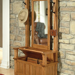 "Sunny Designs - Sedona Hall Tree - Sedona Hall Tree; Solid knotty oak construction; Seat lifts up for hidden storage; Mirrored back; Genuine railroad spikes for coat/hat hanging; Makes the perfect entry or accent piece; Weight: 121.7 lbs; Dimensions:78""H x 38""W x 17""D"