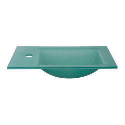 Renovators Supply - Sink Basins Green Glass Mini Counter Top Sink Basin - Small Square Sink. Sonoma MINI Counter Top Sink. This tempered glass sink has a unique sandblasted finish giving it a stunning iridescent GLOW.  Its MINI SIZE maximizes small bathroom spaces. There is no overflow hole. Accepts single hole faucet sold separately. Pop-up drain and p-trap sold separately. Measures 18 1/2 in. W x 11 1/8 in. proj.