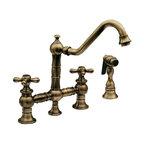 Whitehaus - WHKBTCR3-9201-ABRAS Antique Brass Bridge Faucet - Whitehaus Vintage III bridge faucet with long traditional swivel spout