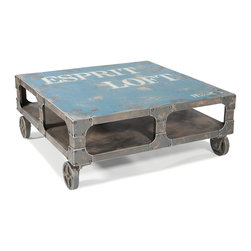 Moe's Home Collection - Moe's Home Loft Square Coffee Table in Blue - Colorful coffee table with storage