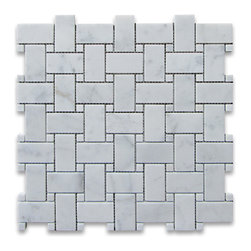 "Stone Center Corp - Carrara Marble Basketweave Mosaic Tile White Dots 1x2 Polished - Carrara White Marble 1x2"" rectangle pieces and Carrara White 3/8"" dots mounted on 12""x12"" sturdy mesh tile sheet."