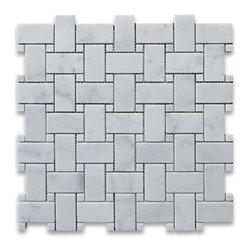 "Stone Center Corp - Carrara Marble Basketweave Mosaic Tile White Dots 1x2 Polished - Carrara White Marble 1x2"" rectangle pieces and Carrara White 3/8"" dots mounted on 12""x12"" sturdy mesh tile sheet."