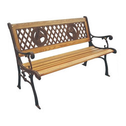 None - Champions Cast Iron Park Bench - Turn your garden,porch or patio into a welcoming and relaxing space with this cast iron park bench. The back of the bench features a elegant design,while the seat has hardwood slats for easy support. The durable frame boasts an attractive bronze finish.