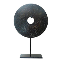 Golden Lotus - Chinese Round Stone Disc Fengshui Display Decor - This is a stone carved round shape decoration display on a metal stand. Round symbolizes complete, smooth and harmony. Stone is one of the five element - earth. The pattern is 4 Chinese celestial mythical animals - four directions - East, South, West and North.