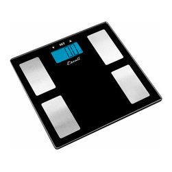 Escali - Escali Black Glass Health Monitor Scale - This Escali black glass bathroom scale has a modern look with its black tempered glass platform and stainless steel foot placers. Provides style and sophistication to any bathroom. The scale measures weight, bodyfat, body water and muscle mass data through the instant-on feature; this feature will provide the user with immediate info when positioned on the scale. Weighs 5.4 lbs.