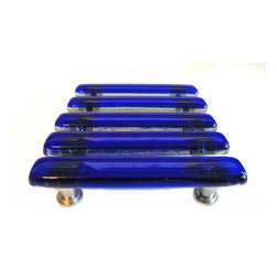 "Transparent cobalt blue 5"" kitchen pulls or handles. - Cobalt blue art glass kitchen cabinet handles. Uneek Glass Fusions. http://uneekglassfusions.com"