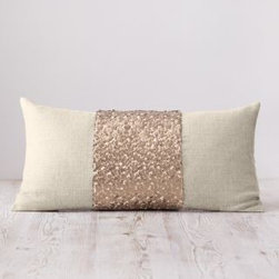 Eileen Fisher - Eileen Fisher Sequined Linen Pillow Cover - Specially designed to go with the Eileen Fisher Home bedding collection, this decorative pillow cover melds natural linen with an exciting cotton-backed poly panel of gold-sequined mosaic. Back is solid linen. Zipper closure. Made in USA. Size: 11 in. x 22 in. By Eileen Fisher Home exclusively by Garnet Hill.