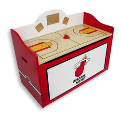 Guidecraft - Miami Heat Wooden Toy Box Storage Bench - This Miami Heat storage bench style toy box is sure to drive your little Heat fans wild! Lift the lid to huddle toys or gear in the spacious and roomy storage area. The lid lifts up and is on safety hinges and has a cut out area to prevent pinching little fingers! The lid also features a full basketball court where your favorite fans can play their favorite game. It also provides plenty of seating! This toy box has three photo cutouts on the back allowing for personalization. The largest measures 3 1/2 inches high by 5 1/2 inches wide, and the two smaller measure 2 1/2 inches high, by 2 1/2 inches wide. Whether in the bedroom or in the playroom, this toy box will be a slam dunk! It measures 24 1/4 inches high, a lid height of 16 1/4 inches, 31 1/2 inches wide and 15 1/2 deep. This toy box is officially licensed and painted in official logos and colors! Crafted from high quality wood, this is one toy box sure to last! Assembly is required.