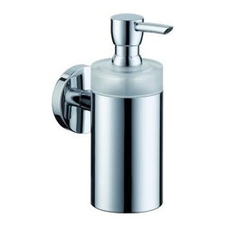 Hansgrohe - Hansgrohe 40514000 Chrome S and E Accessories E and S Accessories Soap - E and S Accessories Soap Dispenser Wall Mounted with Frosted Glass TumblerSolid brass holder Anti-shatter polymer bottle holds 8 oz