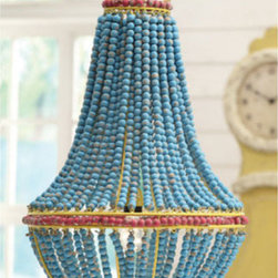 Blue Beaded Chandelier - Colorful wooden beads transform a typical pendant lamp into something extraordinary. Its draped detailing adds a whimsical touch to your décor, whether you hang it over your kitchen table, in the entryway, or in your bedroom. Beads are individually distressed, allowing the warm wood tones to peek through.