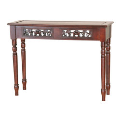 International Caravan - International Caravan Windsor Two Drawer Table in Dual Walnut Stain - International caravan - Console Tables - 3834 - This two drawer table has beautiful hand carvings to enhance its look. It has turned legs and is made from hardwood. It is great to use as a desk or lamp table.
