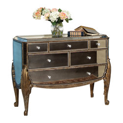 Bassett Mirror Company - Bassett Mirror T1267-766 Collette Mirrored Fluted Leg Hall Chest - Fluted Leg Hall Chest in Antique Mirror w/ Gold and Silver Leafing belongs to Collette Collection by Bassett Mirror Company Bassett Mirror is fluent in this art, showing a terrific contemporary furniture that will satisfy on the one hand fans of home coziness, and on the other hand - seekers of non-standard design solutions also. One of the many strengths of the Bassett Mirror is using high quality materials for perfect embodiment of brilliant design ideas. Hall Chest (1)