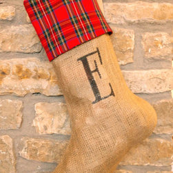Personalized Tartan Christmas Stocking by Jessica Scissorhands - This rustic-looking Christmas stocking gets all dressed up with a tartan plaid cuff. The monogramming is terrific, too.