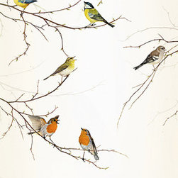 """Komar - Birds Wall Mural - This mural is 3' x 7'3"""" and comes as two easy to install panels. Made in Germany. Roll Coverage: 21.75 square feet. Paste Included."""