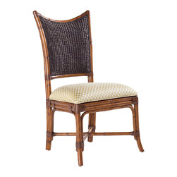 Lexington - Lexington Island Estate Mangrove Side Chair Set of 2 531-880-01 - Embrace island dining with the natural influence of woven back styling in the beautiful Plantation finish. The upholstered seat is standard in Macadamia, a basket weave pattern in a golden sand coloration.