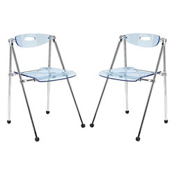 Modway - Telescope Folding Acrylic Chair, Set of 2, Light Blue - A combination of convenience and comfort, the Telescoping Chair offer many desirable features. The back tilts to support you, even when you are reclining. For storage, the chair's telescoping legs allow you to effortlessly fold the chair down to a compact storage size. Ultra modern and attractive, these chairs are not only a smart choice, they are a stylish one as well.