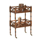 Butler Specialty - Butler Specialty Mobile Server in Plantation Cherry Finish - Butler Specialty - Bar Carts - 1565024 - A versatile and unique piece this mobile server can be used for entertaining or storage purposes. Crafted from select solid woods and choice veneers the server features a plantation cherry finish and has two shelves with open fretwork surrounding all sides. The top shelf has a beautiful cherry veneer top and intricate veneer inlay design. The antique brass casters provide easy mobility. Selected hardwoods and choice cherry veneers. Matched cherry veneer top with maple and walnut inlay design. Four antique brass finished casters.