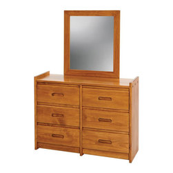 Chelsea Home - 43 in. Wooden Dresser with Mirror - Rustic style. Six drawers. Hand finished stain with three step process to compliment natural wood grain. 1 in. mirror thickness. Constructed for strength and durability. Warranty: One year. Made from solid pine wood. Honey finish. Made in USA. No assembly required. Mirror: 27 in. W x 31 in. H (9 lbs.). Dresser: 43 in. W x 17 in. D x 31 in. H (101 lbs.). Overall: 43 in. W x 17 in. D x 62 in. H (110 lbs.)