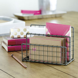 Ballard Designs - PE Collection Letter Holder - 2 slots for small & large envelopes. Crafted of iron wire. Zinc finish. Remember those classic wire baskets you used in high school? That's where we got the name for this fun storage system. With its simple, sturdy design and zinc finish, this Letter Holder has a retro industrial look that works in a casual office, crafting space or kid's room. PE Collection Letter Holder features: . . .
