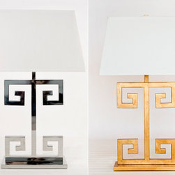 Hazelnut New Orleans Greek Key Lamps - These key lamps will add to a bit of Greek style to your mix.