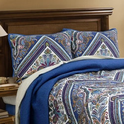 Scent-Sation Tangiers Jewel Standard Sham - Set of 2 - Add a cool, casual style to your room with the Scent-Sation Tangiers Jewel Standard Sham - Set of 2. This set of two shams is made with a quilted microfiber shell and features a cotton/poly blend fill for added comfort. Its exotic floral patterns and paisley designs add a well-traveled appeal to your bedding decor.About Scent-Sation, Inc.Founded in 1950, Scent-Sation has continually remained focused on manufacturing the finest bedding, sheets, and hangers available. The company took its name from the very first product they manufactured: scented hangers. From there, the company moved on to bedding and sheets, though it didn't leave the aromatic satin hangers behind. Whether you're looking for traditional or contemporary bedding, Scent-Sation has a high-quality option for you, crafted with care and attention to detail.