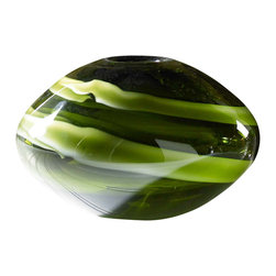 Oblong Green Artisan Glass Vase - This beautiful glass vase is hand blown and crafted by a local artisan. The translucent green glass has wonderful cream and moss color swirls within. An amazing piece of art!