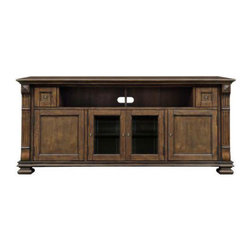 """Bell'o - Bello Entertainment Wood Cabinet Mocha - This classically elegant wood audio/video cabinet in a Mocha finish can accommodate most Flat Panel TVs up to 75"""" (175 lbs.), and up to six audio/video components or up to four audio/video components and a soundbar or center channel speaker in the upper op Can accommodate most flat panel TVs up to 75"""" (175 lbs)"""