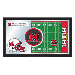 "Holland Bar Stool - Holland Bar Stool Miami (OH) Football Mirror - Miami (OH) Football Mirror belongs to College Collection by Holland Bar Stool The perfect way to show your school pride, our Football Mirror displays your school's symbols with a style that fits any setting.  With it's simple but elegant design, colors burst through the 1/8"" thick glass and are highlighted by the mirrored accents.  Framed with a black, 1 1/4 wrapped wood frame with saw tooth hangers, this 15""(H) x 26""(W) mirror is ideal for your office, garage, or any room of the house.  Whether purchasing as a gift for a recent grad, sports superfan, or for yourself, you can take satisfaction knowing you're buying a mirror that is proudly Made in the USA by Holland Bar Stool Company, Holland, MI.   Mirror (1)"