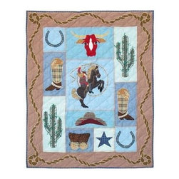 Patch Magic - Cowgirl Crib Quilt - 36 in. W x 46 in. L. Handmade, hand quilted. 100% CottonMachine washable, but for best care hand wash in cold water. Do not machine dry. Do not dry clean. Line or flat dry only.
