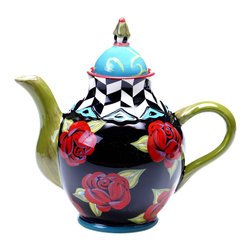 Certified International - Hand-painted Classic Rose 40-ounce Ceramic Teapot - Impress your guests at tea time with the artful style of this unique ceramic teapot. This hand-painted piece features a blend of bold patterns and whimsical colors that will bring a touch of surrealist charm to your table.