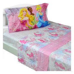 Franco Manufacturing Company INC - Disney Princess Full Bed Sheet Set Dreams in Bloom Bedding - Features: