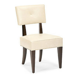 Wilshire Blvd Upholstered Side Chair - This classic contemporary collection with simple lines and surfaces is inspired by the timeless appeal of Wilshire Blvd. It has Sapele veneer in a dark Truffle finish with linear ribbon stripe and raindrop pommele patterns. Key style elements include stainless steel, ivory leather, and rich creamy marble.