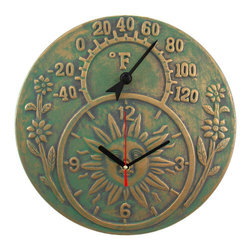 Zeckos - Verdigris Finish Terracotta Sun Face Clock / Thermometer - This beautiful, distressed finish verdigris terracotta quartz clock also contains a thermometer. It's a great accent for anyone with a rustic, old-timey decor. The thermometer reads in Fahrenheit degrees, and the clock runs on a single AA battery. It's great for sun rooms, patios and decks. It measures 12 inches in diameter, and is suitable for indoor or outdoor use. Note: The thermometer temperature can be adjusted by turning the knob on the back. Simply place the thermometer in an area where known temperature can be determined for 90 minutes if the pointer is shifting due to shipping.