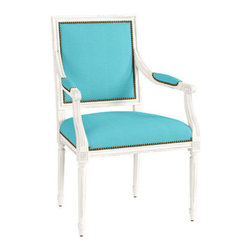 Square Louis Armchair with Aged Brass Nailheads, Sunbrella Canvas Turquoise - A great choice for a guest/client seat is this Louis-style chair from Ballard Designs. I am especially smitten with the turquoise upholstery, but they have tons of other options to choose from.